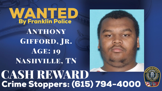 Anthony Gifford, 19, of Clarksville, has been named as a suspect in connection with a $4,500 shoplifting spree at the Cool Springs Galleria last week, Franklin Police reported.