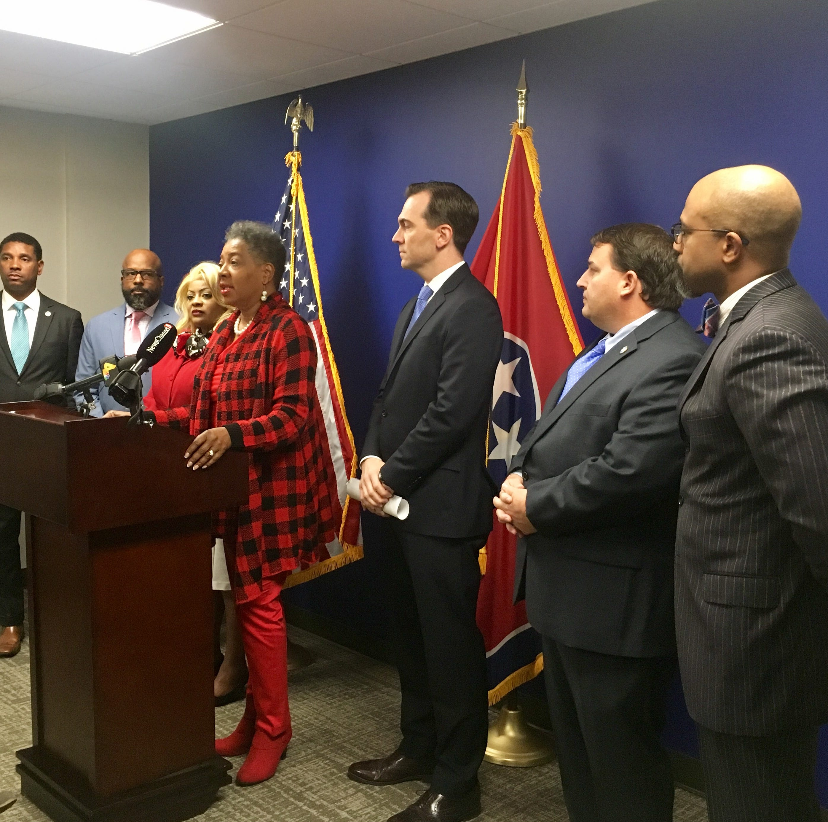 Democratic lawmakers gather for a news conference Dec. 14, 2018 to ask Gov. Haslam to grant clemency to Cyntoia Brown.