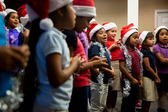 Children from Gargiulo Education Center sang Christmas carols to residents of Juniper Village on Friday afternoon.