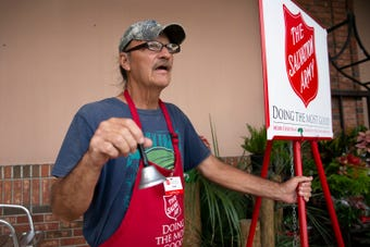 Salvation Army's Red Kettle volunteers collected monetary donations at Wynn's Market on Friday, Dec. 14, 2018, in Naples.