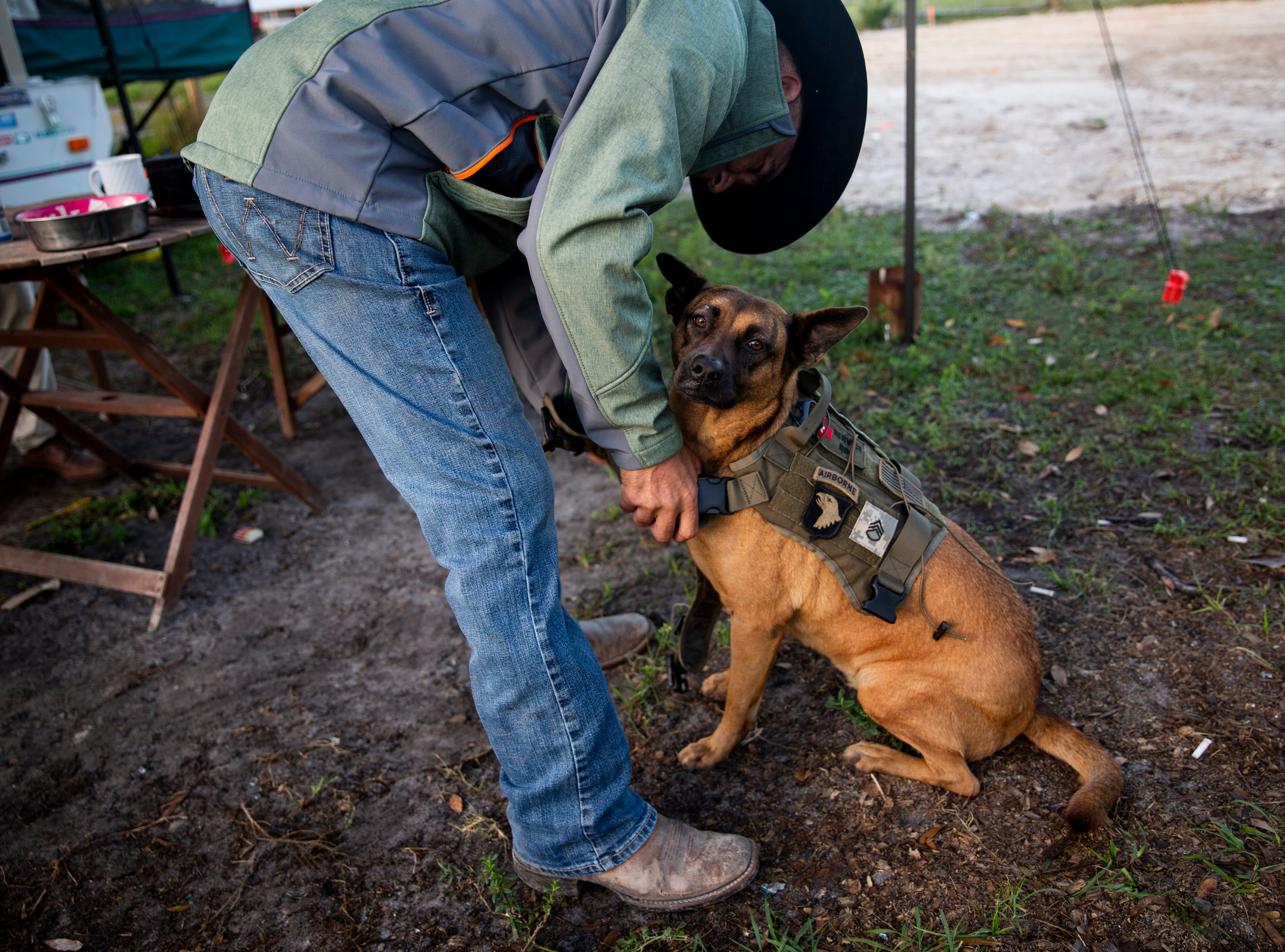 Steven DePalma puts a vest on his service dog, Mia, on Friday, Dec. 7, 2018, at his ranch in Fort Myers. DePalma is an Army veteran, and Mia helps him by reminding him to take his medication and waking him up from nightmares.
