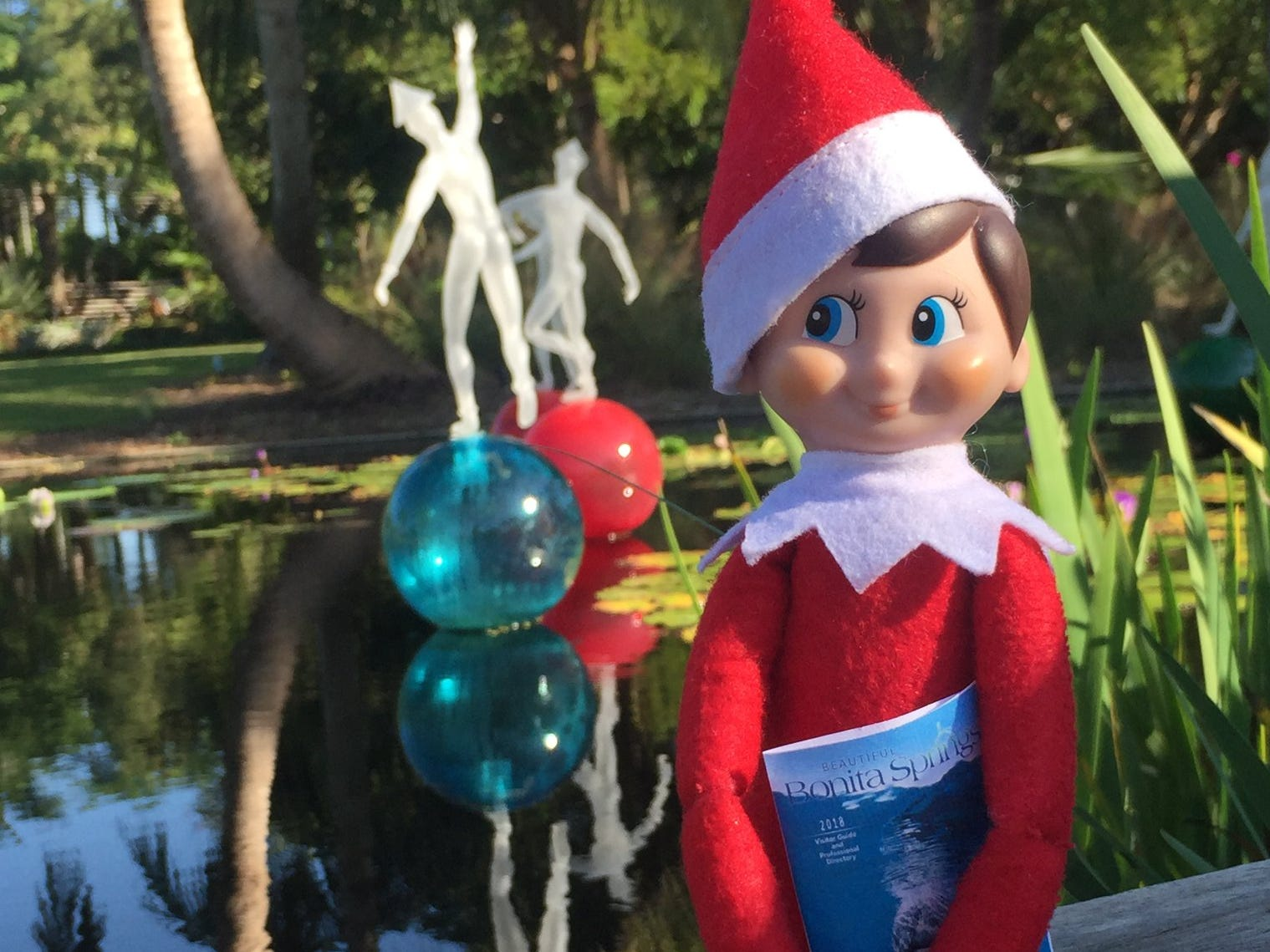 Chauncey the Elf from the Bonita Springs Area Chamber of Commerce visits member businesses every December. Here is Chauncey at the Naples Botanical Garden.
