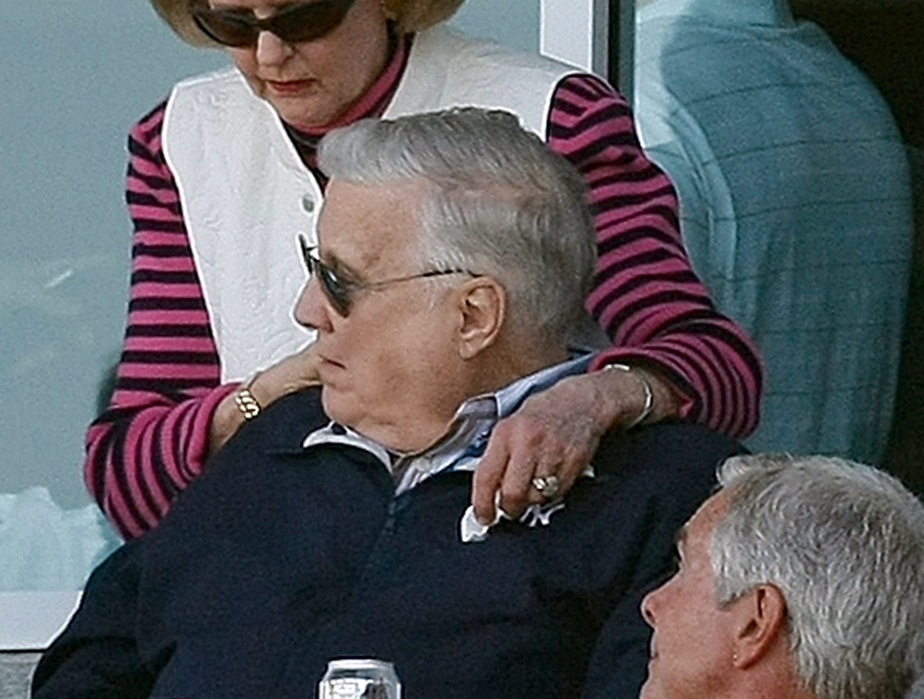 New York Yankees vice chairperson Joan Steinbrenner is shown with her husband,  Yankees owner George Steinbrenner, during the Yankees' spring training baseball loss to the Atlanta Braves on Saturday, March 7, 2009, at Steinbrenner Field in Tampa, Fla. (AP Photo/Kathy Willens)
