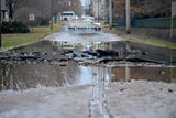 Water main break in Englewood