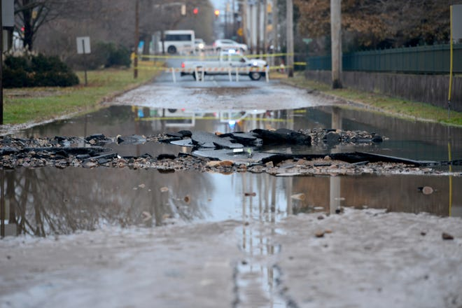 A water main break has shutdown N. Dean Street in the area of Englewood Hospital in Englewood, on Friday morning December 14, 2018.