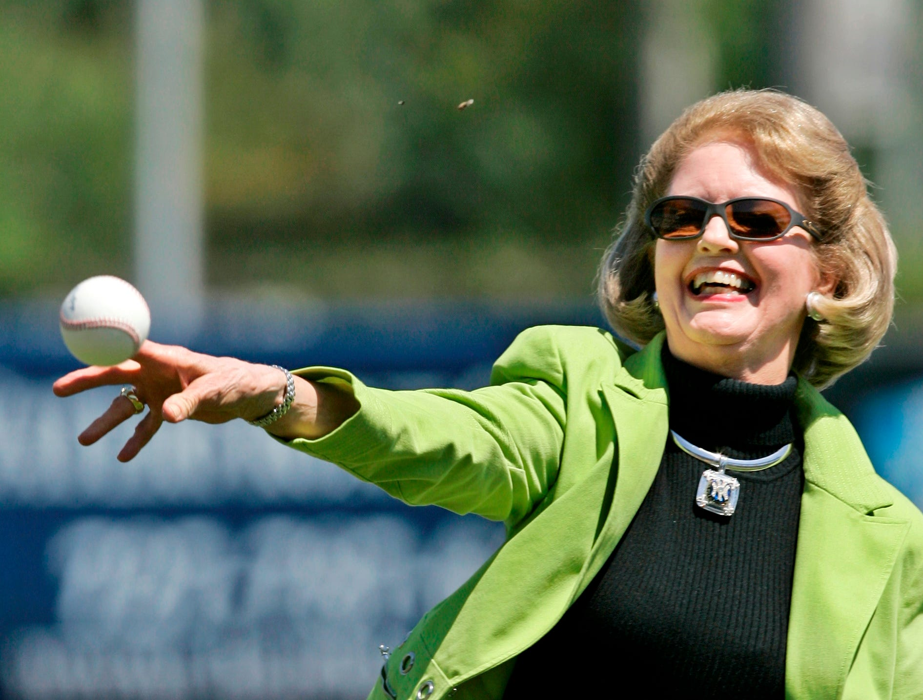 Joan Steinbrenner, wife of New York Yankees owner George Steinbrenner, throws out the first pitch following a baseball pregame ceremony renaming Legends Field to George M. Steinbrenner Field in Tampa, Fla., Thursday, March 27, 2008.
