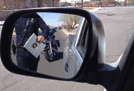 Traffic Stop Motor Officer Walking Wm
