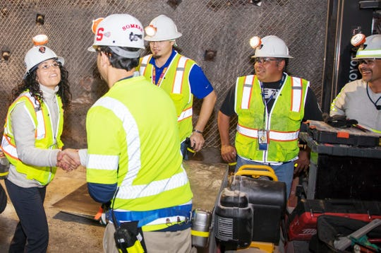 New Mexico's District 2 Congresswoman Xochitl Torres Small Dec. 13 at the Waste Isolation Pilot Plant underground.