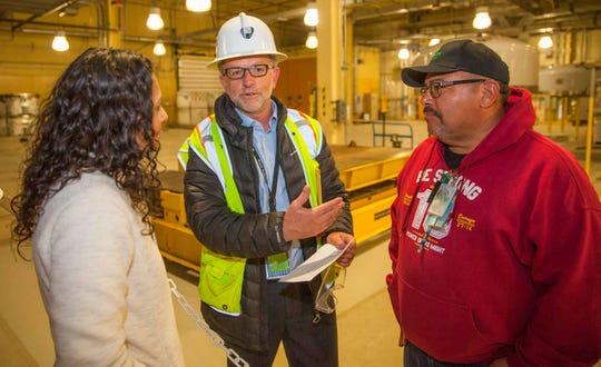 Donavan Mager, center, speaks with New Mexico's District 2 Congresswoman Xochitl Torres Small Dec. 13 at the Waste Isolation Pilot Plant. She was in Carlsbad April 17 visiting with business and community leaders on the importance of participating in the 2020 United States Census.