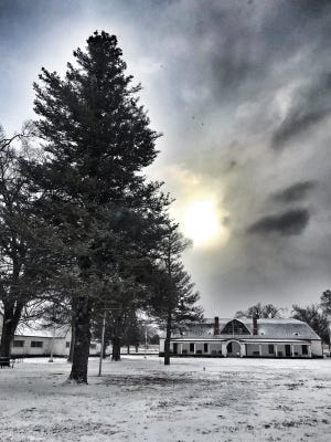 Historic Fort Stanton stood starkly in the snow as a storm moved through early Thursday.