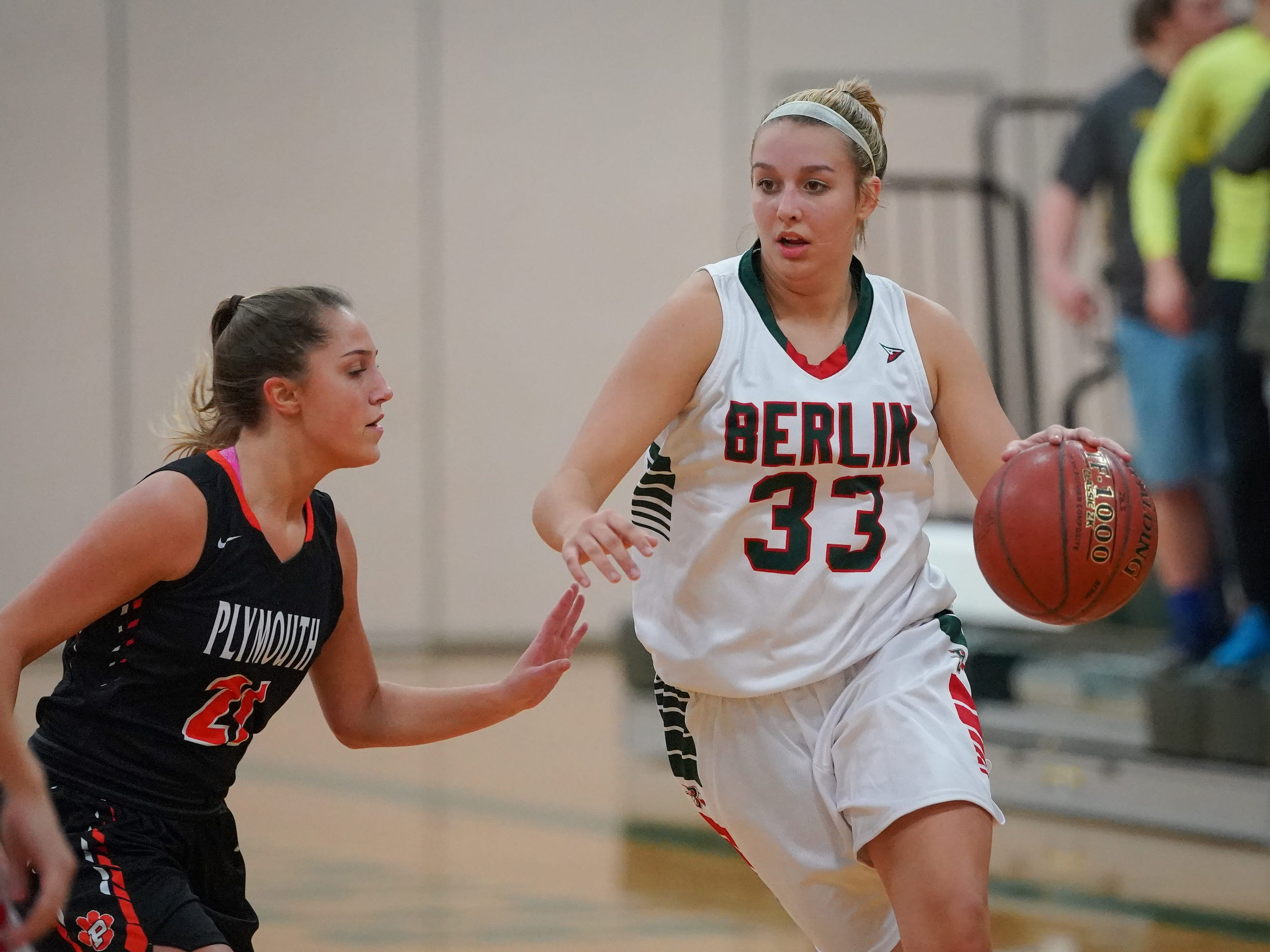 Madalyn Naparalla (33) of Berlin drives to the basket. The Berlin Indians hosted the Plymouth Panthers in an East Central Conference basketball game Thursday evening, December 13, 2018.