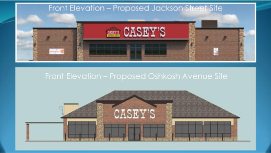 Concept art for the Casey's General Stores at Jackson Street and Oshkosh Avenue.