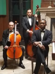 "​(From left) Dimiter Marinov, Mike Hatton and Mahershala Ali portray the Don Shirley Trio in ""Green Book.""  ​"