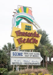 Pensacola Beach sign in Gulf Breeze on Friday, December 14, 2018.