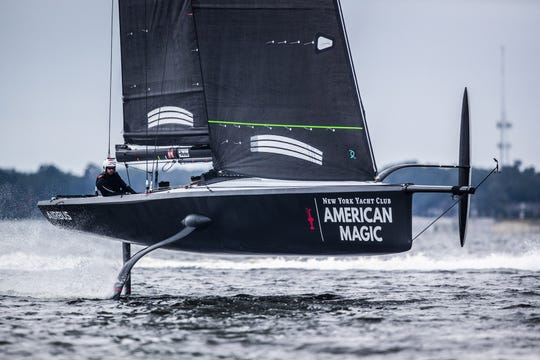 The New York Yacht Club's American Magic racing team is testing out its foiling monohull boat in Pensacola ahead of the 36th America's Cup in 2021.