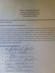 Instructions for rating potential Booker T. Washington head football coaching candidates given to and signed by the hiring committee on March 20, 2018.
