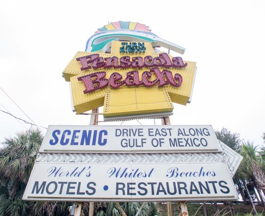 The welcome to Pensacola Beach sign is pictured in December.