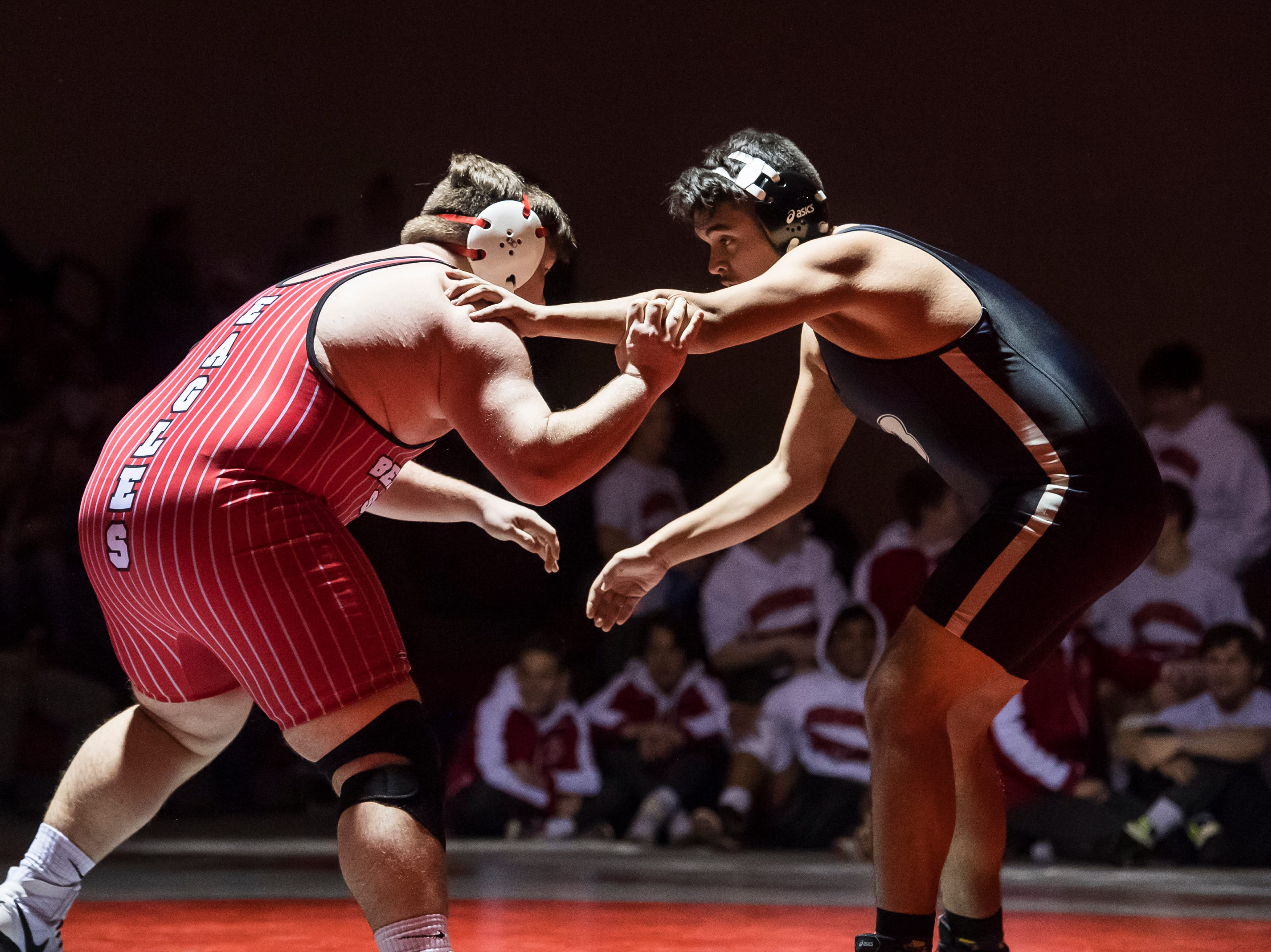 Bermudian Springs' Ryan Lauver, left, wrestles Biglerville's Antoni Esquivias in the 285-pound bout at Bermudian Springs High School on December 13, 2018. Lauver won by fall in 24 seconds and the Eagles won 51-27.