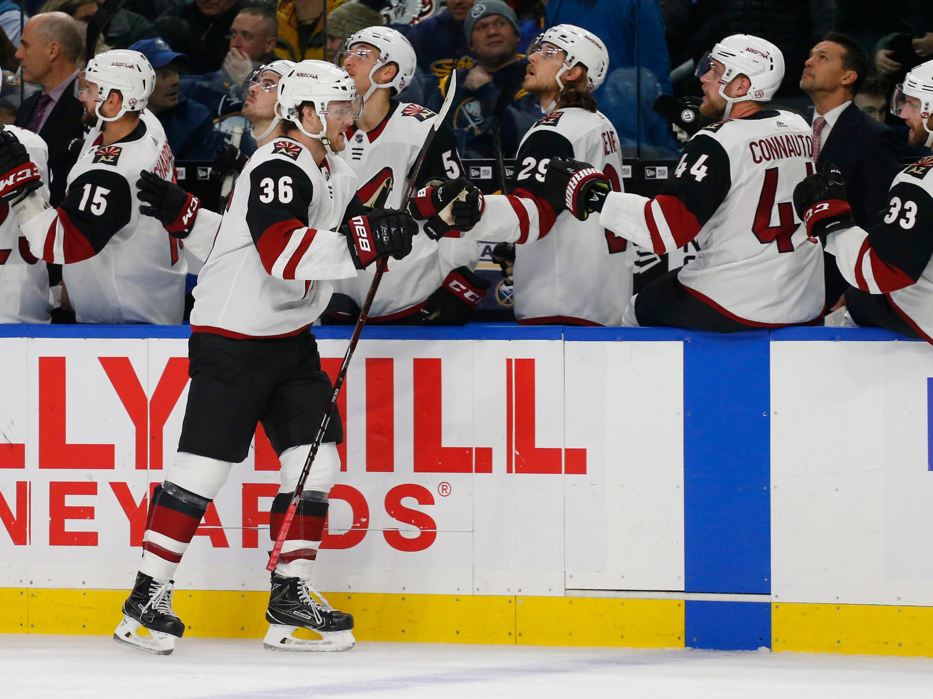 Arizona Coyotes forward Christian Fischer (36) celebrates his goal during the first period of an NHL hockey game against the Buffalo Sabres, Thursday, Dec. 13, 2018, in Buffalo N.Y. (AP Photo/Jeffrey T. Barnes)