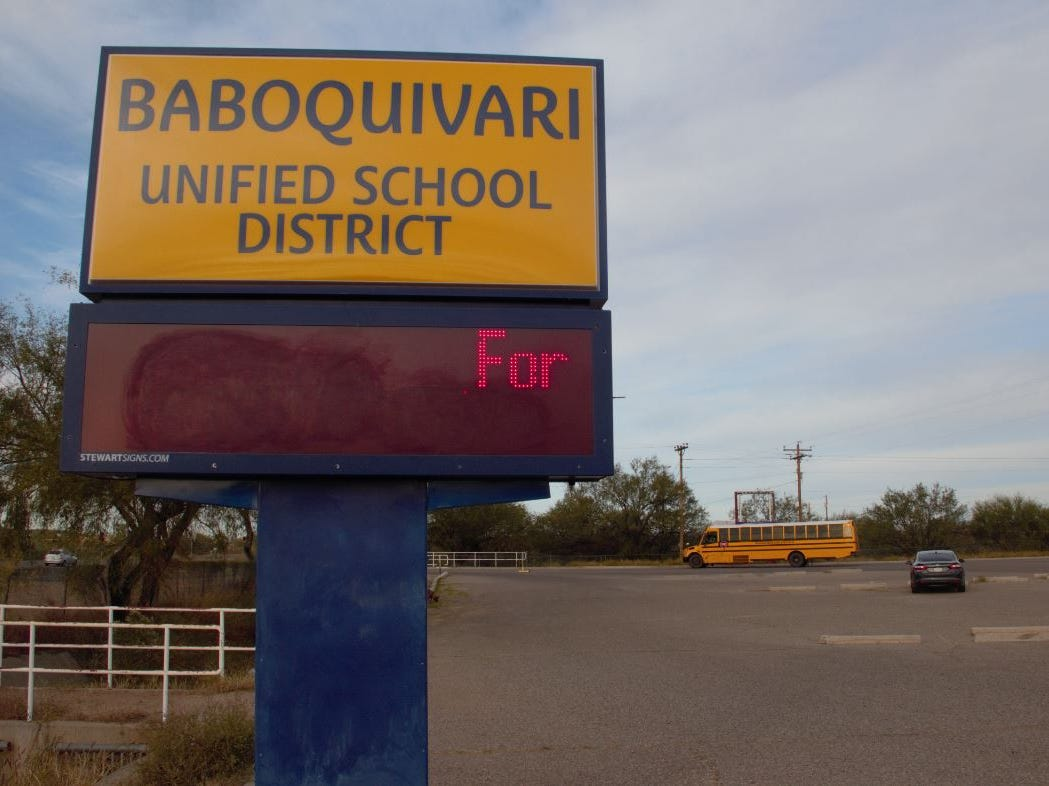 A sign outside Baboquivari Unified School District in Sells on the Tohono O'odham reservation.