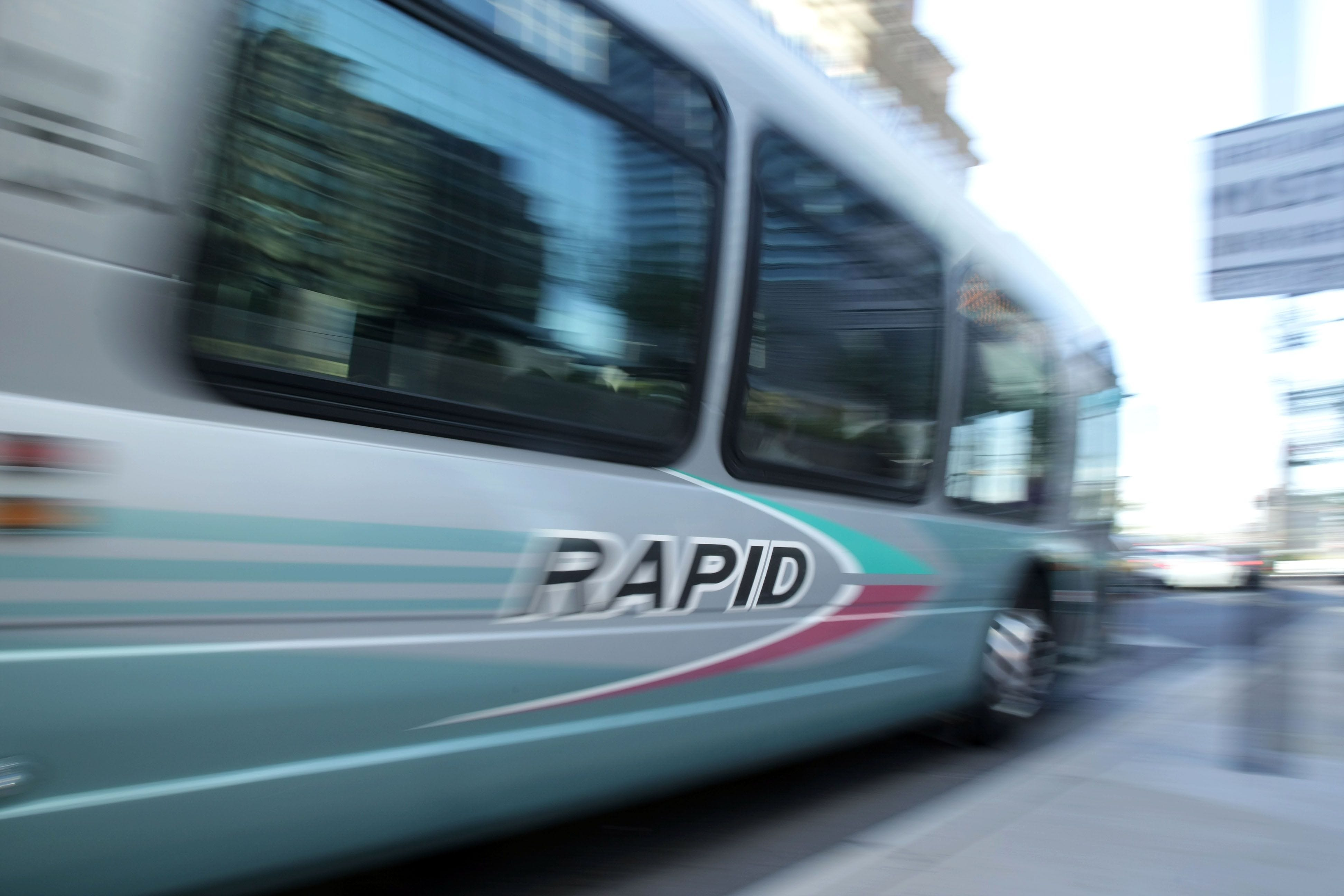 Bus Rapid Transit operates like light rail without the track. It has fewer stops than a traditional bus (typicallyevery half-mile),stations where riderspay their fare before the bus arrives,signal priority and sometimes a dedicated lane.