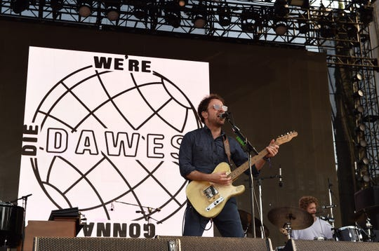 PASADENA, CA - JUNE 24:  Musicians Taylor Goldsmith (L) and Griffin Goldsmith of musical group Dawes perform on The Oaks stage during Arroyo Seco Weekend at the Brookside Golf Course at on June 24, 2017 in Pasadena, California.