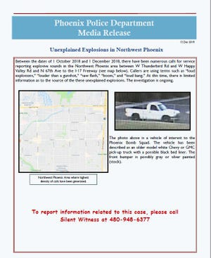 """Phoenix police released a photo of a """"vehicle of interest"""" in an investigation of unexplained explosions reported in northwest Phoenix."""
