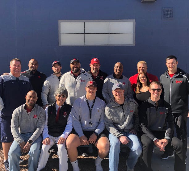 Higley football player Ty Robinson meets with 11 coaches from Nebraska on Thursday, Dec. 14, 2018 during a recruiting visit.