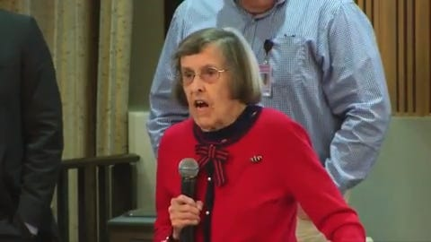 Phoenix resident Greta Rogers, in a public meeting Dec. 12, 2018, lit into council members over a proposal to spend $150M to help renovate the Suns' arena.