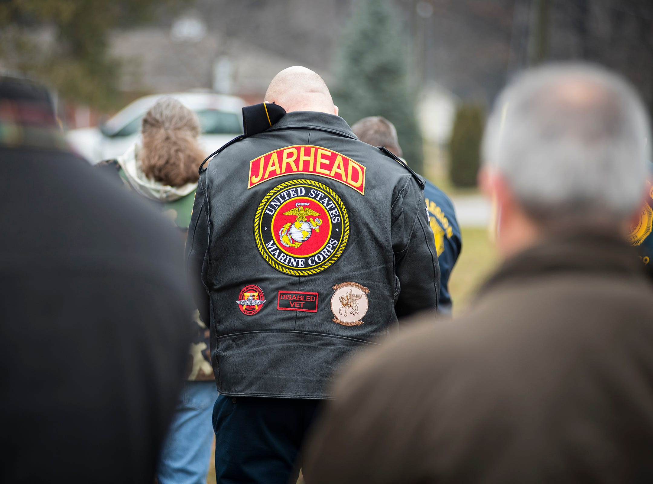 Veterans from different branches of the military attend the funeral for Joseph A. Humphries Friday, Dec. 14, 2018 at Allied Veterans Cemetery in Fort Gratiot. Humphries, a U.S. Army veteran, was born and lived in Port Huron but has no known relatives in the area.