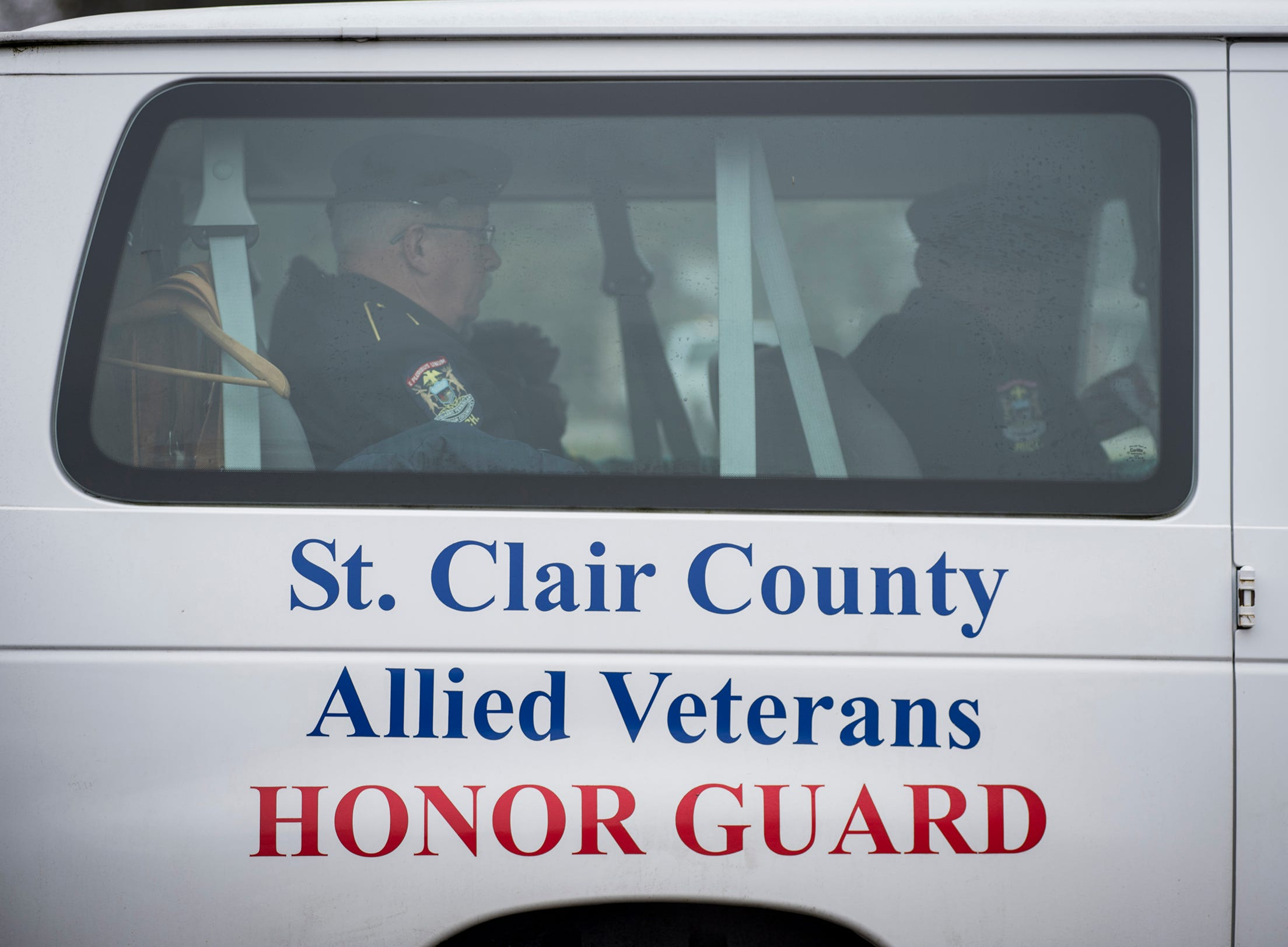 The St. Clair County Allied Veterans Council Honor Guard arrives at the Allied Veterans Cemetery Friday, Dec. 14, 2018 for the funeral of Joseph A. Humpries.