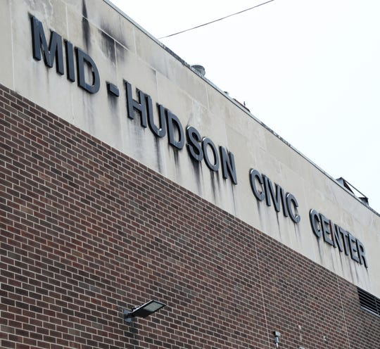 The stained lettering of the Mid-Hudson Civic Center facing the arterial on December 13, 2018.