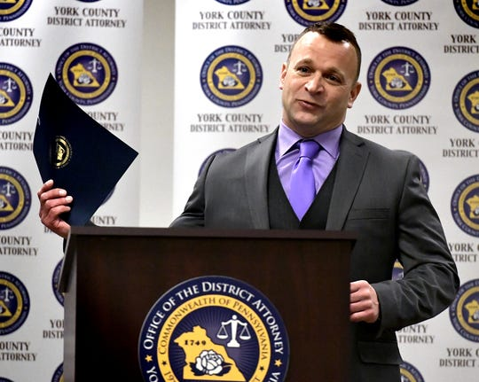 Detective/investigator Outstanding Service award recipient Michael Hine of Northern York County Regional Police Department speaks during the York County District Attorney's Office's first annual awards ceremony at the York County Administrative Center Friday, Dec. 14, 2018. Bill Kalina photo