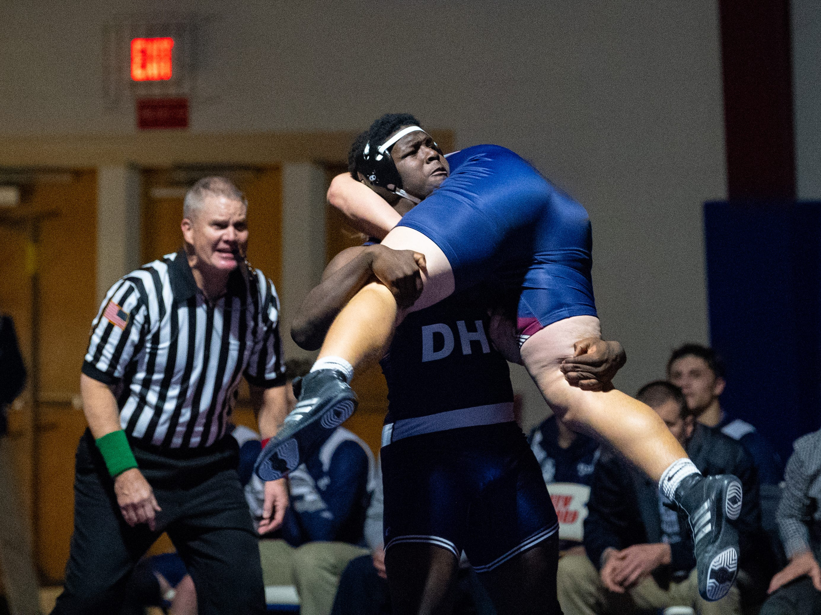 Andrew Smith of Dallastown takes control of the match during the YAIAA Division I wrestling match between Dallastown and New Oxford, December 13, 2018. The Wildcats defeated the Colonials 40-20.