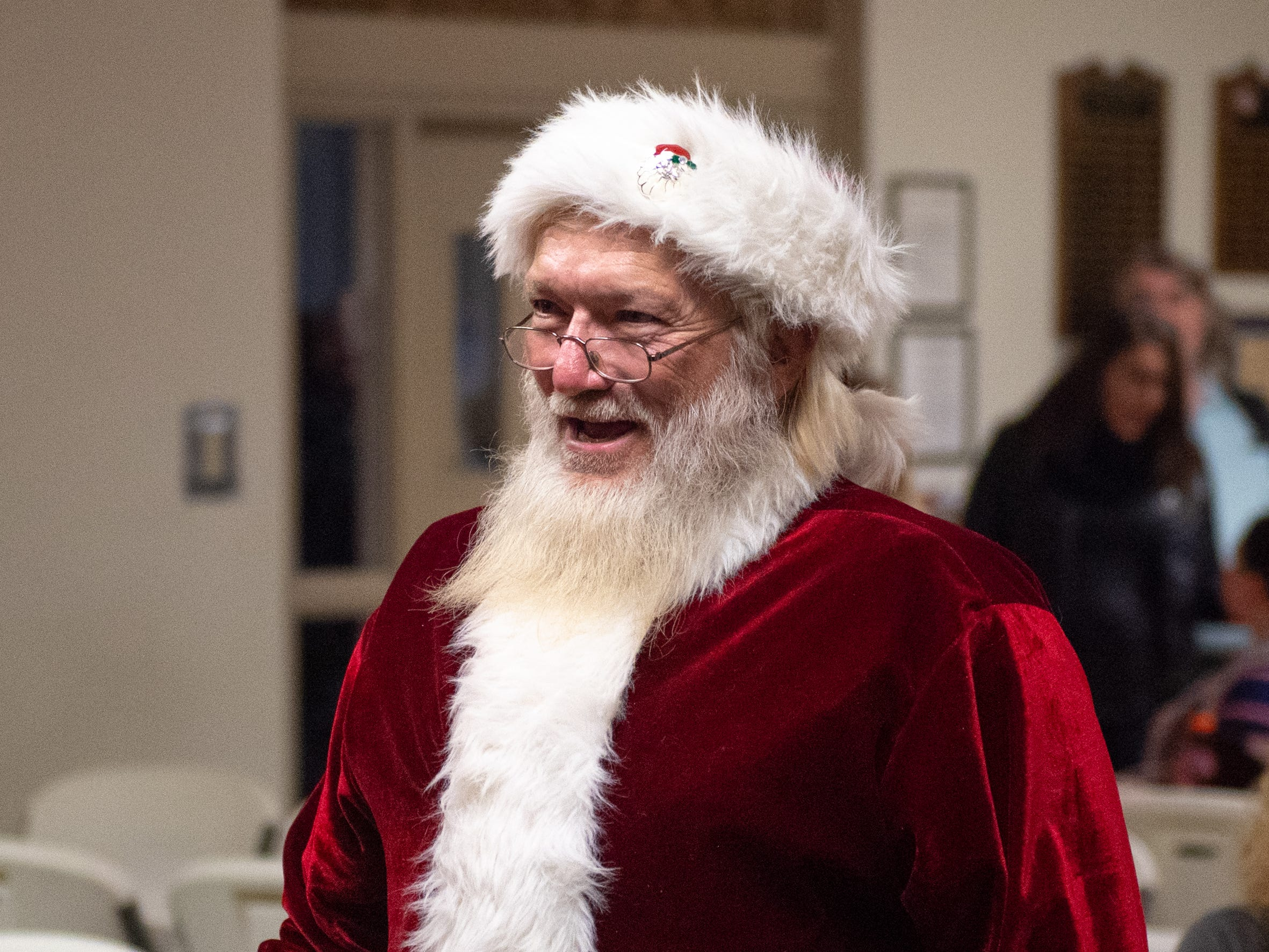 Santa Claus prepares to meet all of the good little York girls and boys for pictures during the Annual Evening with Santa, December 13, 2018.