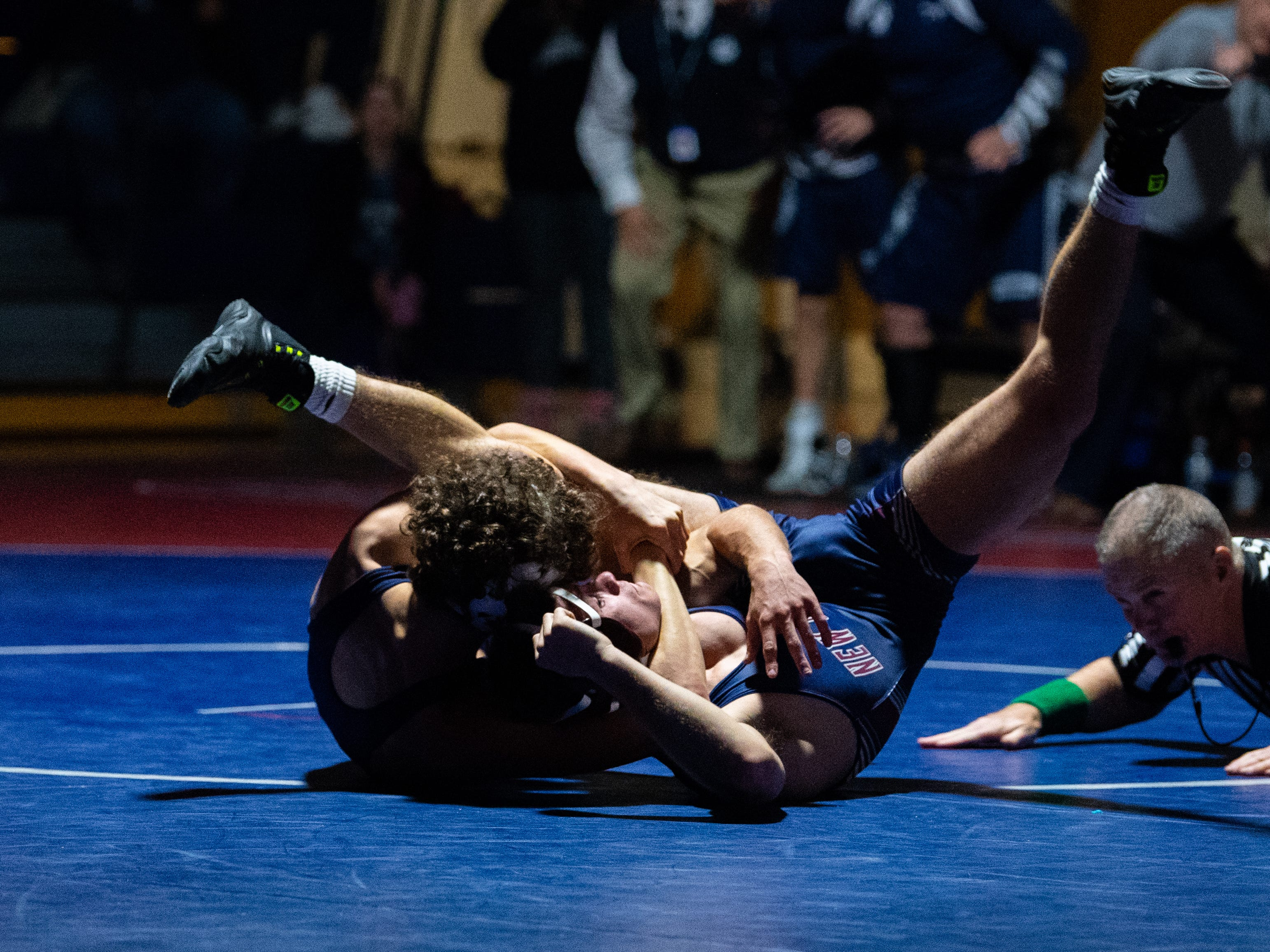 Cael Turnbull of Dallastown fully controls Kurt Smith of New Oxford during the YAIAA Division I wrestling match, December 13, 2018. The Wildcats defeated the Colonials 40-20.