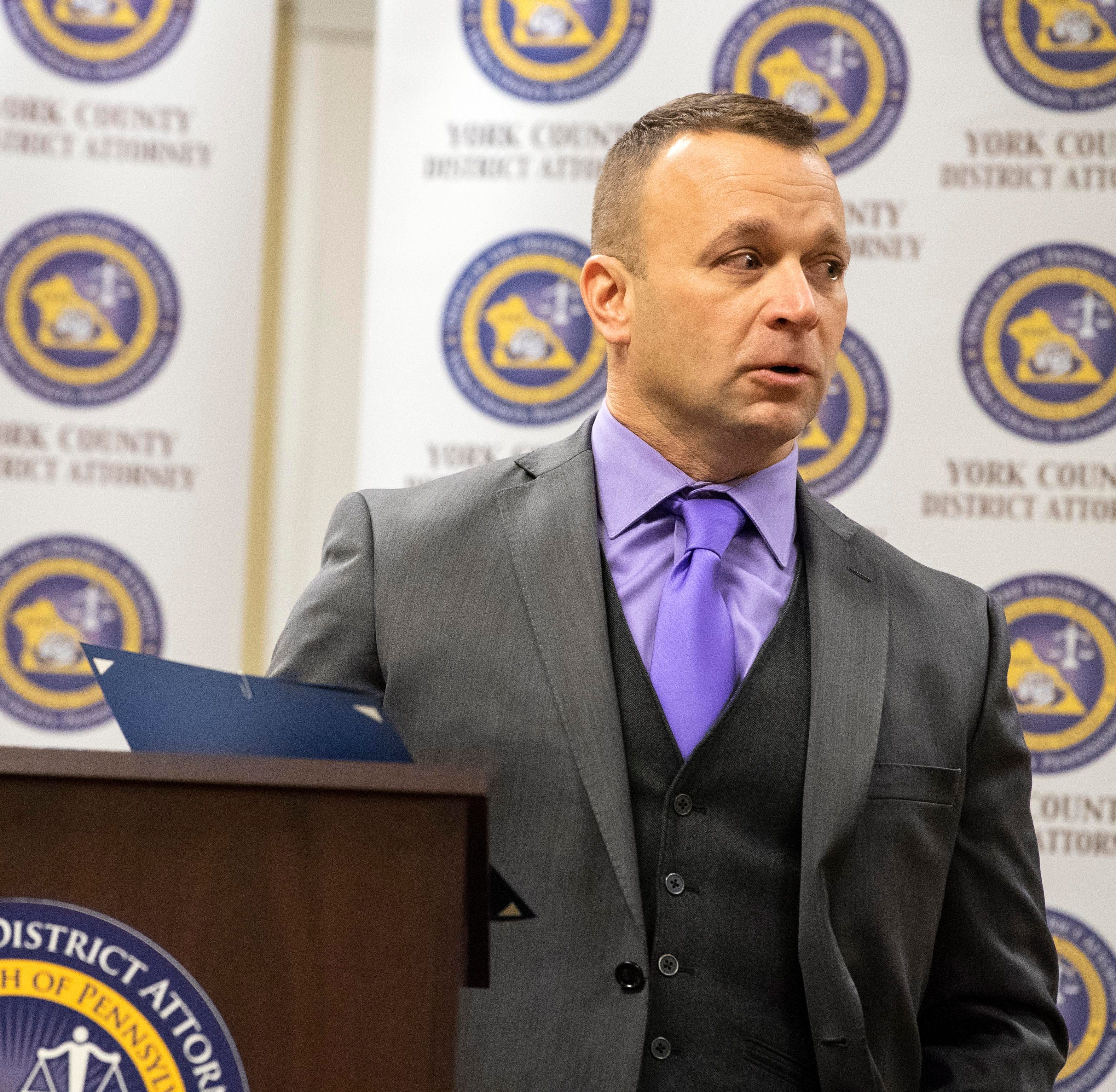 Detective Mike Hine, of Northern York Regional Police Department, tears up while talking about his work in procecuting child abuse and sexual assault cases, Friday, Dec. 14, 2018. Detective Hine was honored with the 'Outstanding Service as a Detective/Investigator' award.