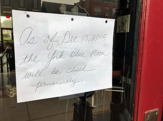 York Blue Moon located at 361 W. Market St. is now closed. The restaurant opened in 2006 and recently underwent a $400,000 expansion in March 2017.