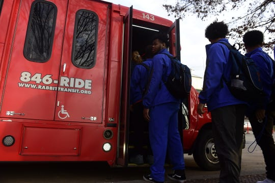 York High players wait in line to take a Rabbit Transit bus to Ballyhoo Sports Academy at Heritage Hills Thursday, Dec. 13, 2018. The players are working out at Ballyhoo in the offseason as part of a 13-week lifting program.