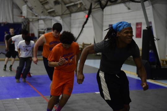 York High football players perform offseason footwork drills Thursday, Dec. 13, 2018 at Ballyhoo Sports Academy.