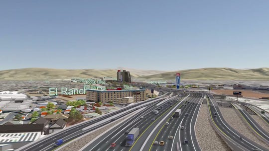 The ramps leading to Rock Boulevard and Fourth Street under NDOT's preferred Spaghetti Bowl Project alternative plan.
