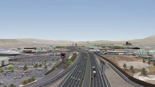 The proposed southbound braided ramp between Glendale Avenue and Mill Street under NDOT's preferred Spaghetti Bowl Project alternative plan.