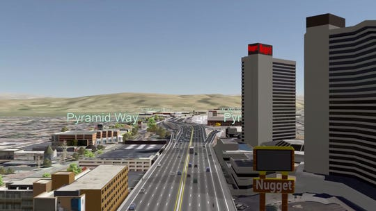 The viaduct bridge near the Nugget will be widened under NDOT's preferred Spaghetti Bowl Project alternative plan.