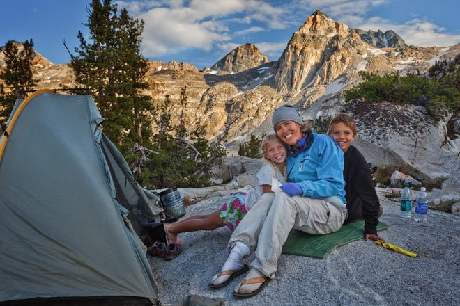 Julie O'Neill with her kids, Bekah and Cade in Rae Lakes Basin along the John Muir Trail.
