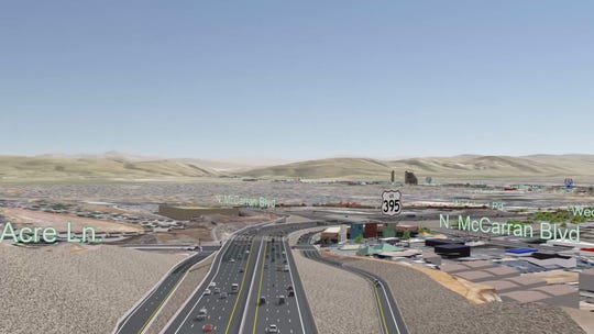 The Clear Acre Lane and McCarran section under NDOT's preferred Spaghetti Bowl Project alternative plan.