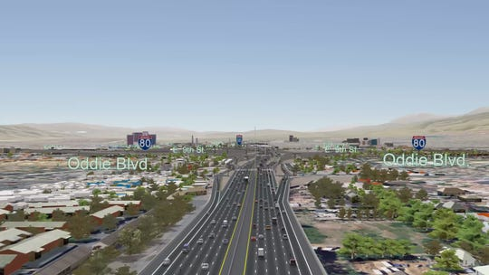 The Oddie Boulevard ramps under NDOT's preferred Spaghetti Bowl Project alternative plan.