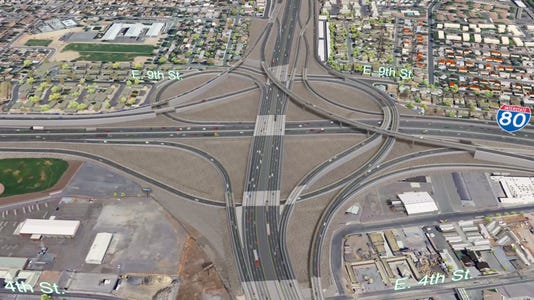 A bird's-eye-view rendering of the Nevada Department of Transportation's preferred plan for the Spaghetti Bowl Project in Reno-Sparks.
