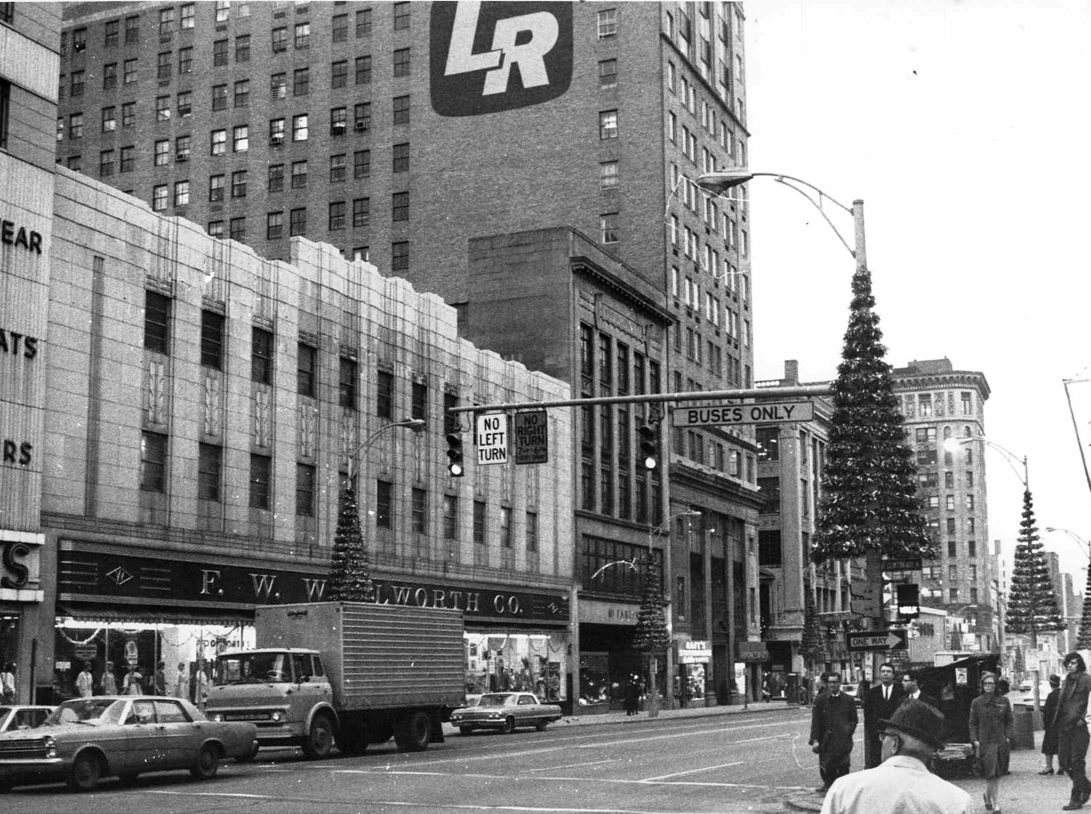Dec. 1967: From left, Three Sisters clothing store at Main and Clinton, F. W. Woolworth Co. and McFarlin's and Lincoln Rochester's present building.