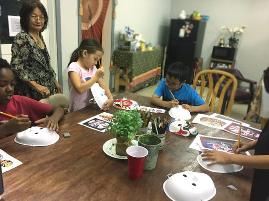 Students paint during a Chinese Mask Class at Concho Arts and Crafts, 209 S. Magdalen St.