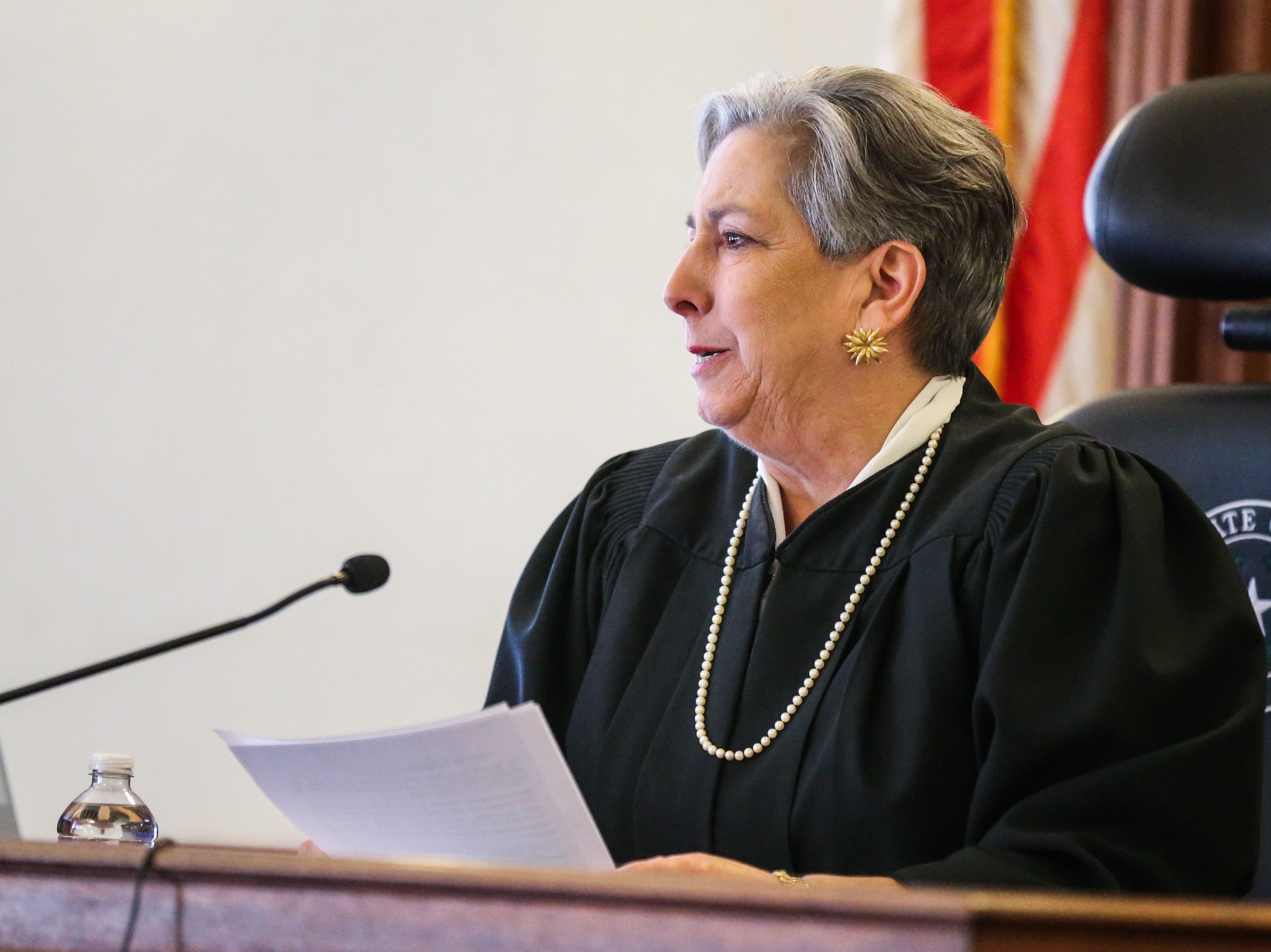 Justice Marilyn Aboussie talks about Carmen Dusek during the swearing in ceremony Friday, Dec. 14, 2018, at Tom Green Courthouse.
